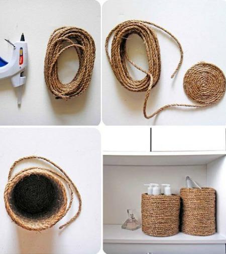 Những chiếc giỏ đựng mỹ phẩm, dầu gội có thể được làm từ sợi dây thừng nhằm tiết kiệm chi phí