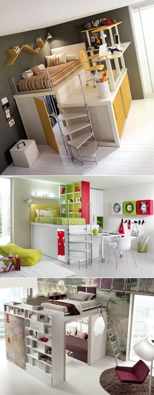 Đưa giường ngủ lên cao bạn sẽ có không gian phía dưới để đựng đồ hay tiếp khách gọn gàng.