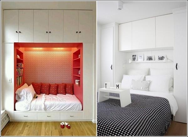 Giường ngủ kết hợp với tủ quần áo siêu gọn gàng.