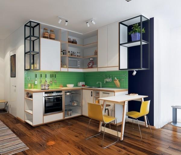 Khu vực nhà bếp nổi bật hơn với backsplash sắc xanh lá cây.