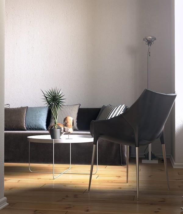 Nội thất phòng khách thiết kế với phần chân kim loại mảnh mai.