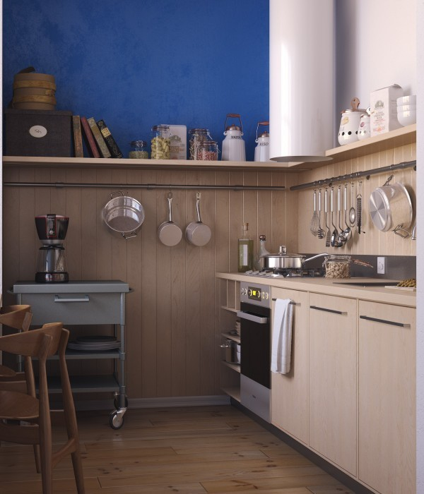 Tận dụng tối đa hệ thống kệ và giá treo giúp bếp luôn gọn gàng.