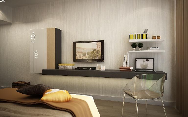 Kệ tivi đơn giản kết hợp góc làm việc. Giải pháp bàn làm việc treo tường kết hợp kệ treo tường khiến không gian trở nên rộng rãi và tinh tế (xem thêm tại đây)