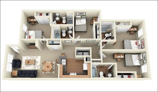 Căn hộ 4 phòng này không hề rộng lại chỉ có 2 mặt thoáng, nhưng nhờ các bài trí không gian theo chiều dọc mà phòng ngủ nào cũng có cửa sổ đảm bảo sự thông thoáng. Khu bếp nấu và bàn ăn không quá rộng nhưng cách bài trí rất hợp lý, đảm bảo được nhu cầu sử dụng cho mọi thành viên trong gia đình.