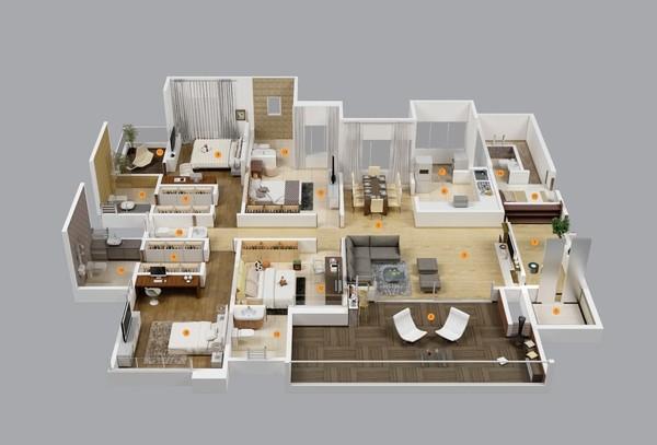 """Trong căn hộ này, các không gian sinh hoạt lại được """"cắt ngang"""" với 4 phòng ngủ được bố trí ở nửa nhà, nửa còn lại là các không gian bếp - khách - ăn. Các bài trí căn hộ này rất hợp với những người thích sự rành mạch cho các không gian."""