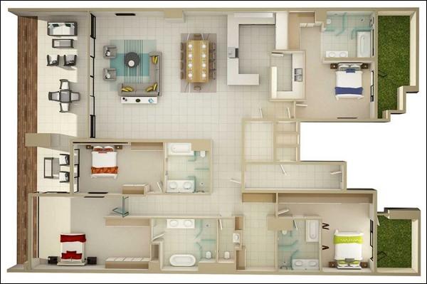 Nội thất đơn giản, cơ bản nhưng tiện nghi là điềm đặc biệt của căn hộ này. Chỉ sở hữu một mặt thoáng duy nhất nhưng nhờ có khoảng ban công xanh mướt mà ngay cả 2 phòng ngủ tưởng chừng như bị đưa vào góc vẫn đủ sáng và thông thoáng.