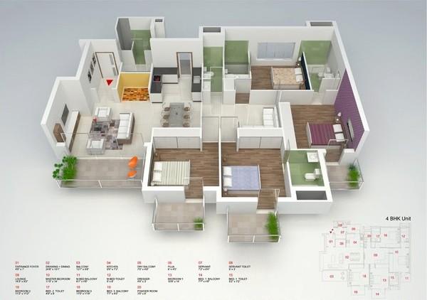 """Cách bố trí căn hộ 4 phòng ngủ này tuy đơn giản nhưng đẹp và rất dễ ứng dụng. Ngoài kiểu bố trí """"cắt ngang"""" để phân chia rành mạch giữa không gian nghỉ ngơi và không gian sử dụng chung thì việc lựa chọn nội thất đơn giản nhưng hợp lý cũng là điểm cộng của căn hộ này."""