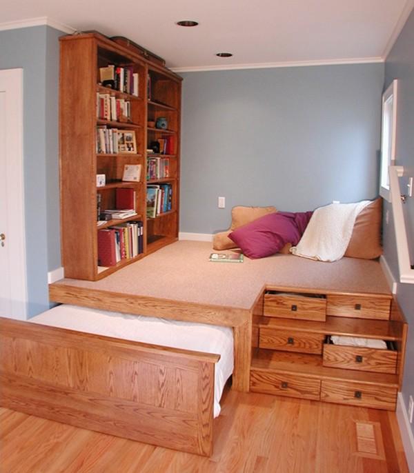 Lưu trữ ngầm giúp phòng nhỏ những vẫn đủ chức năng.