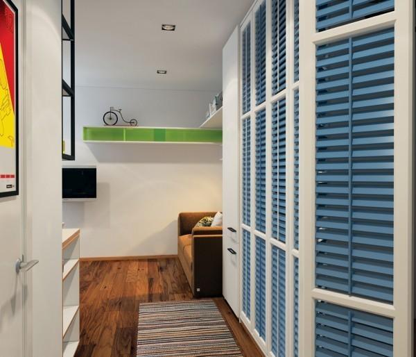 """Tủ lưu trữ được """"ngụy trang"""" bằng cửa chớp màu xanh lam đẹp mắt."""