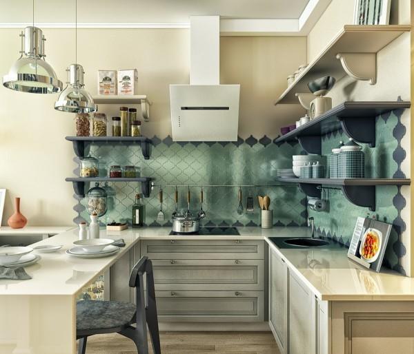 Bếp nổi bật nhờ backsplash chất liệu gạch phản quang đẹp mắt