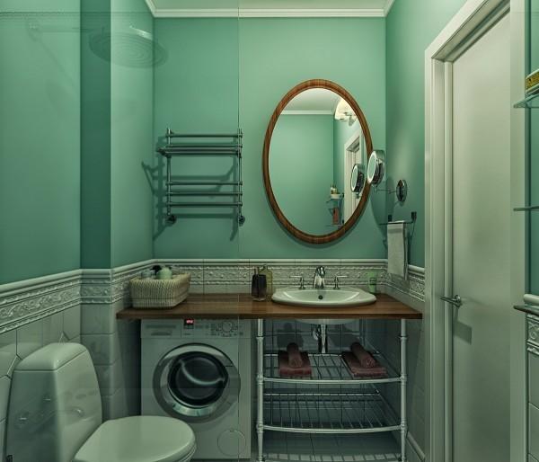 Phòng tắm sơn màu xanh ngọc thời thượng cùng nội thất tiện nghi.