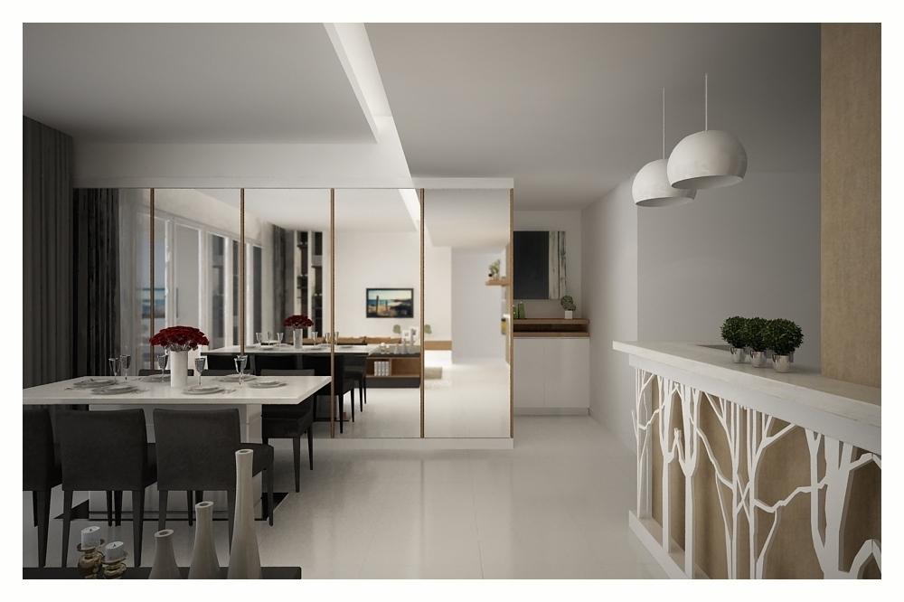 Khu vực bàn ăn được ngăn cách bởi các vách kính thủy tinh tạo cảm giác căn nhà có chiều sâu và rộng, đồng thời cũng là vách trang trí.