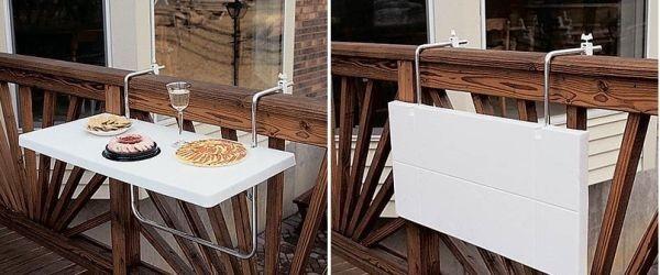 Loại bàn gấp cố định vào thành bàn công này giúp bạn có không gian linh động cho những bữa ăn lãng mạn.